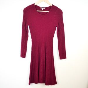 Burgundy Sweater Long Sleeve Mini Dress